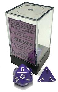 Dice 7-Piece Polyhedral Set - Opaque-Purple/white