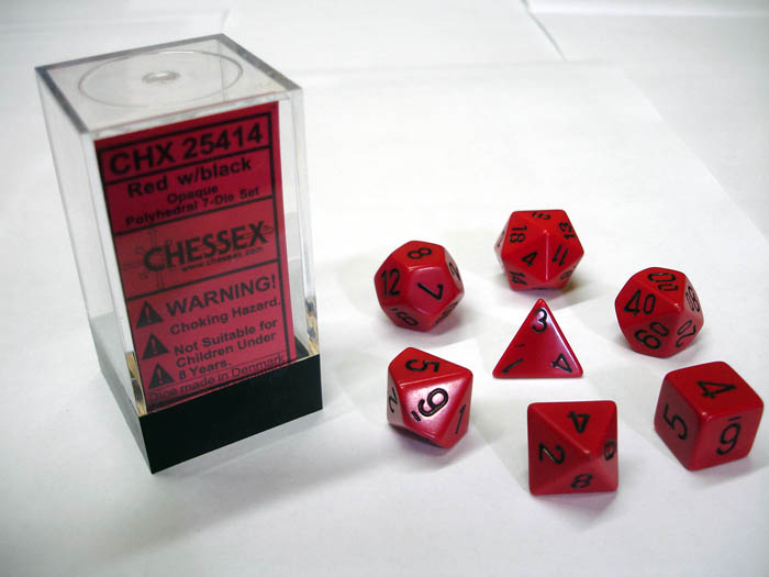 Dice 7-Piece Polyhedral Set - Opaque Red w/Black