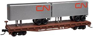 50' Flatcar with Two Trailers - Canadian National (37607)