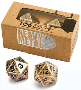 Heavy Metal D20 Dice Set: Antique Bronze