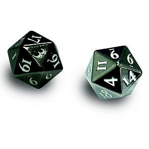Heavy Metal D20 Dice - Gun Metal (White Numbers)
