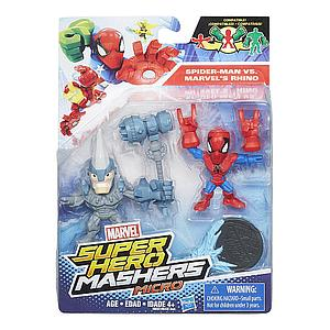 Marvel Super Hero Mashers Micro 2-Pack Action Figure - Spider-Man vs Marvel's Rhino