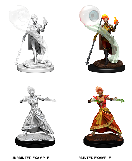 Dungeons & Dragons Roleplaying Game Unpainted Miniatures: Fire Genasi Female Wizard