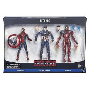 Marvel Legends Series Captain America Civil War 3-Pack 6 Inch Action Figure Spiderman, Captain America & Iron Man