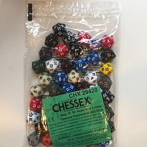 Opaque Polyhedral D8 Dice 50 Assorted Bag