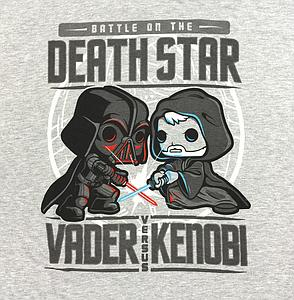 Pop! Tees Star Wars Battle on the Death Star Vader vs Kenobi  Tee (Grey T-Shirt) (L) Smuggler's Bounty Exclusive