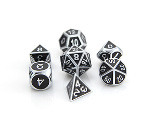 Metal Gothica 7-Dice Set - Shiny Silver with Black