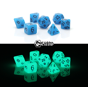 Poly RPG 7-Dice Set - Glow-in-the-Dark Blue