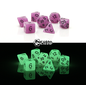 Poly RPG 7-Dice Set - Glow-in-the-Dark Purple