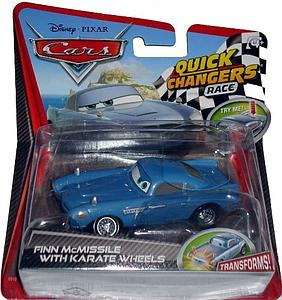 Mattel Disney Cars Die-Cast 1:55 Quick Changers Scale Toy: Finn w/ Pop Out Weapons