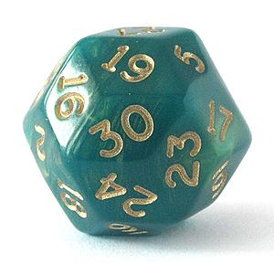 Gold Shimmer Polyhedral D30: Green & Gold