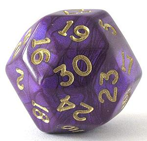 Gold Shimmer Polyhedral D30: Purple & Gold