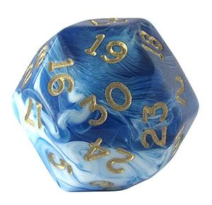 Gold Marbelized Polyhedral D30: Blue & Gold