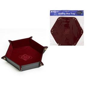 Folding Dice Tray: Burgundy with Copper Buttons