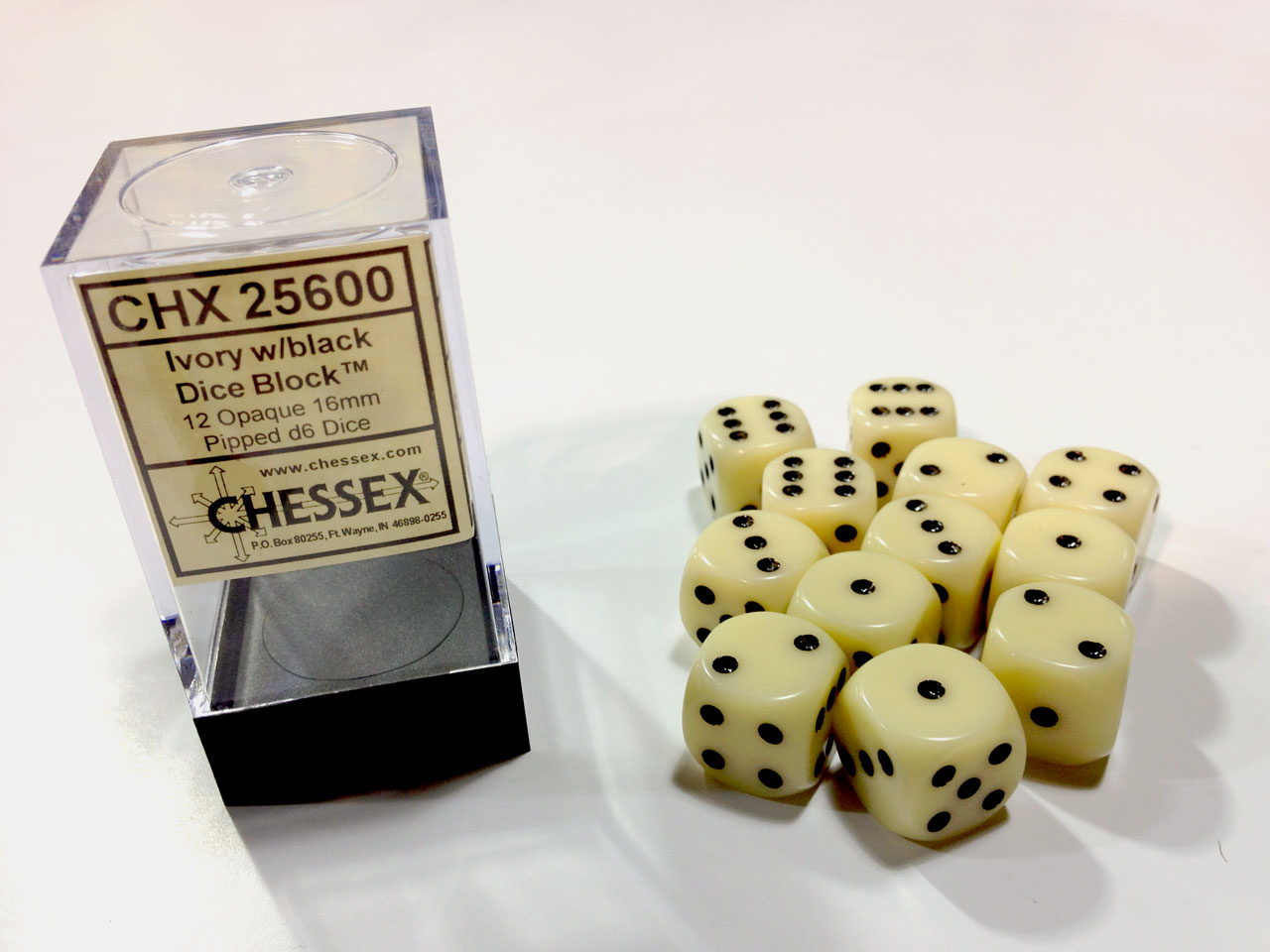 Dice 12D6 Set - Opaque Ivory w/Black