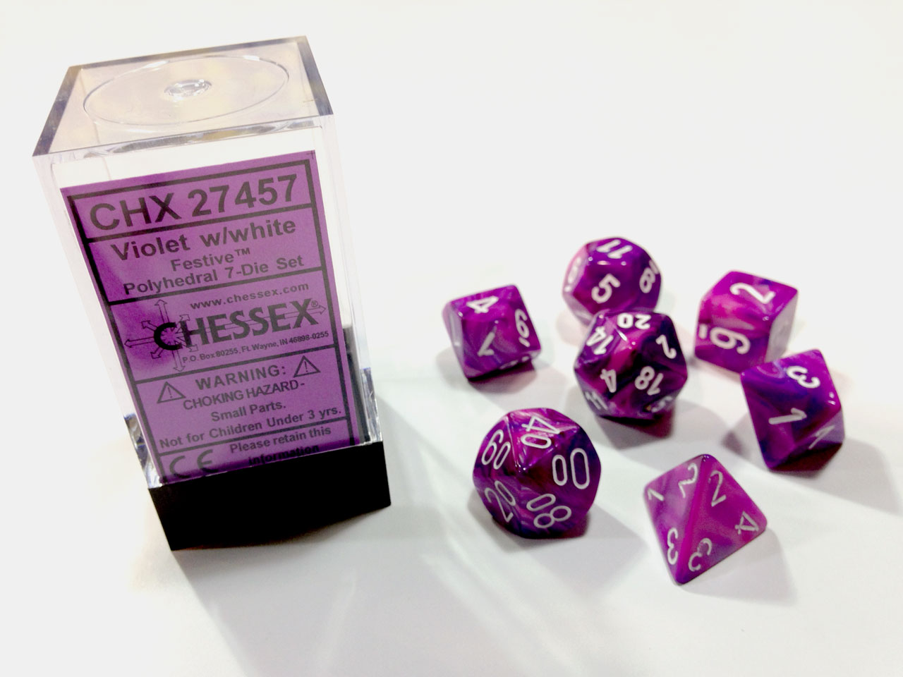 Dice 7-Piece Polyhedral Set - Festive Violet w/White