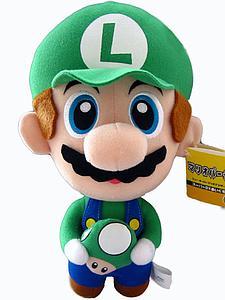 "Plush Toy Super Mario Bros 10"" Luigi with Mushroom"