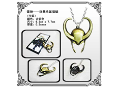 Marvel Thor Necklace: Gold Loki Helmet