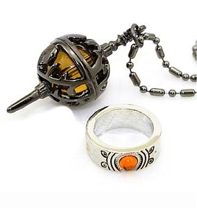 Madoka Magica Ring & Necklace: Yellow Spiked Egg Set